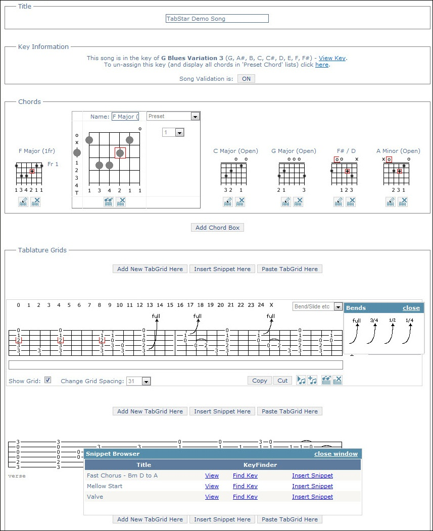 The main tablature designer and editor